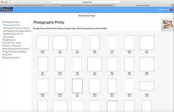 RGB Digital Direct Web - product menu