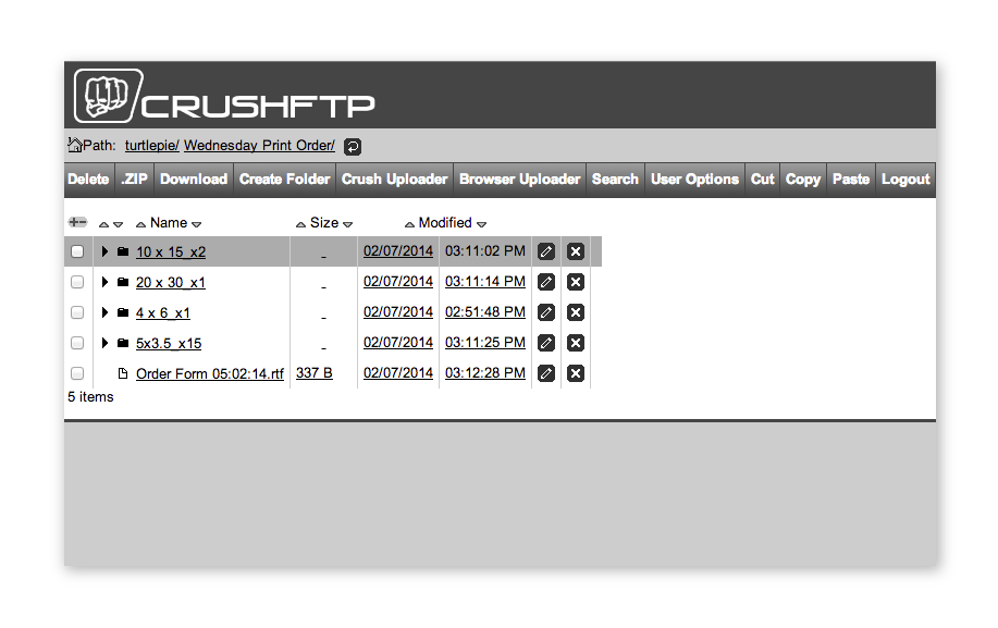 crush FTP uploader